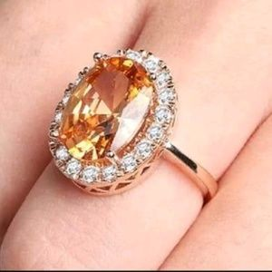 Oval Morganite cz 925S/Gold Plated ring